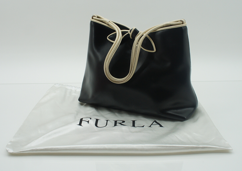 furla damen handtasche tasche leder schwarz creme inkl. Black Bedroom Furniture Sets. Home Design Ideas