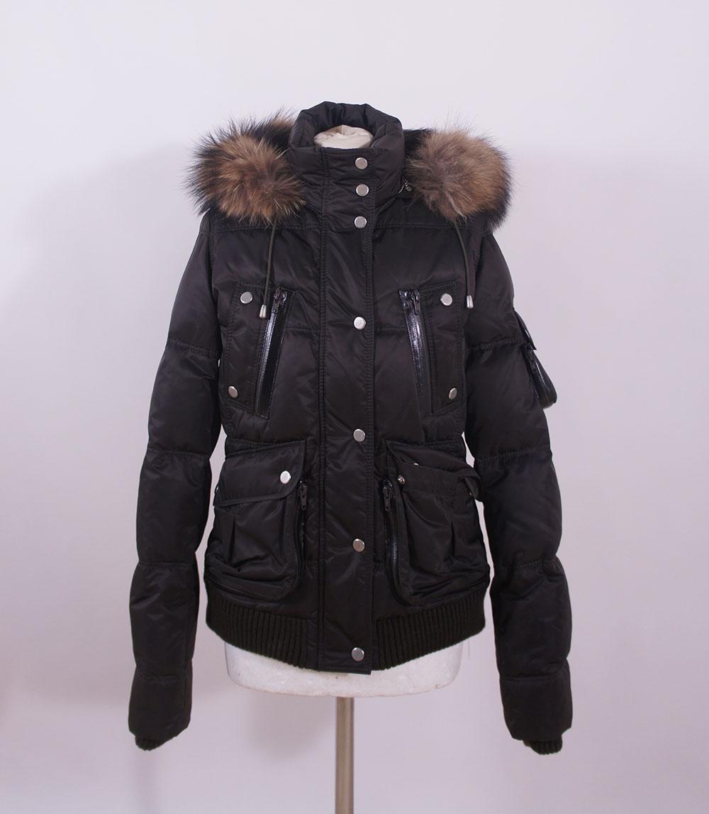 Details zu Fame FFCC Damen Daunenjacke Jacke mit Echtfell Kapuze braun Gr. S