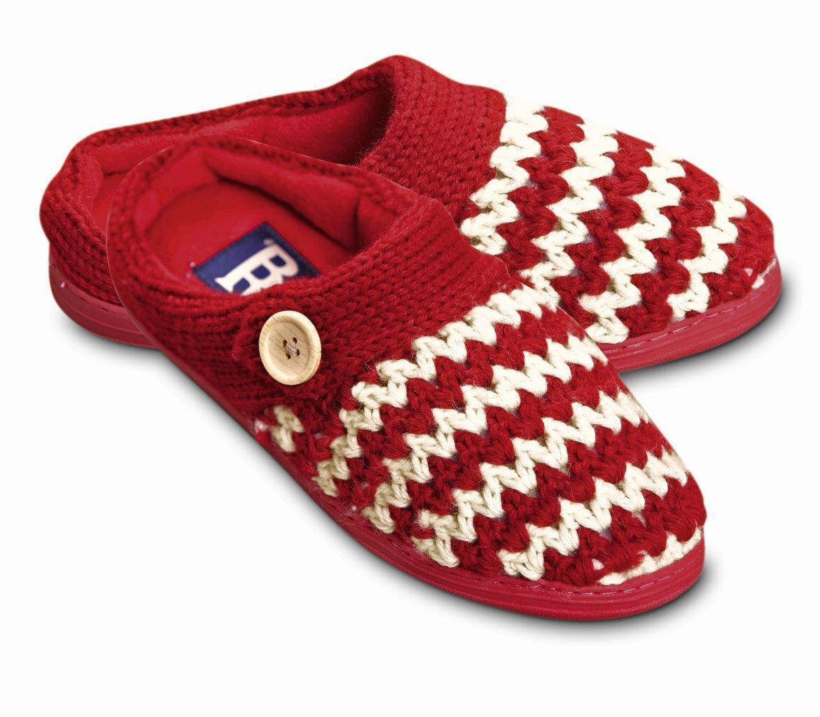 Ruby Brown Damen Strick Pantoffel rot - blau Hausschuhe warm Gr. 36-40 Handmade