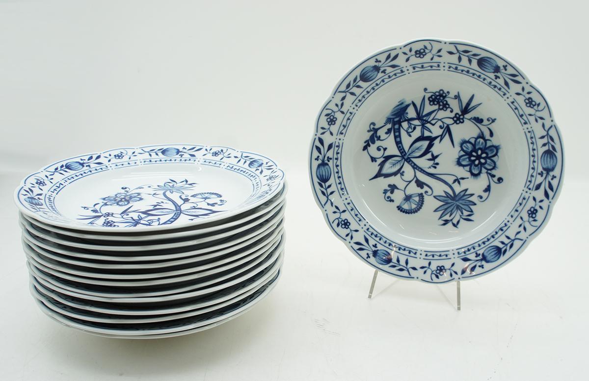 Kahla Zwiebelmuster Porzellan 7x Suppenteller Teller blau weiß Ø 23,5 cm