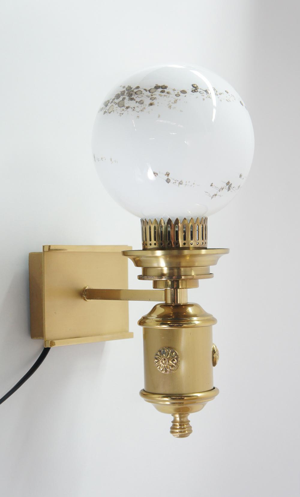 70er jahre wandlampe lampe leuchte messing 1 flammig glas milchig mit muster ebay. Black Bedroom Furniture Sets. Home Design Ideas