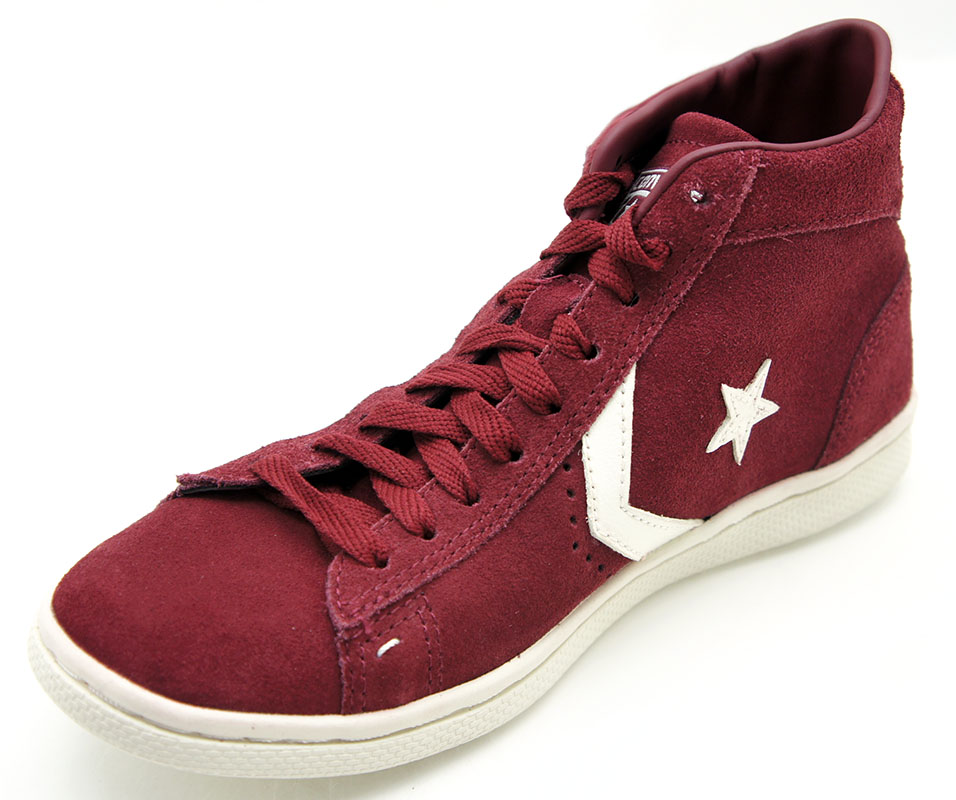 Details zu Converse All Star Chucks Pro Leather LP MID Suede Maroon Weinrot 129018C