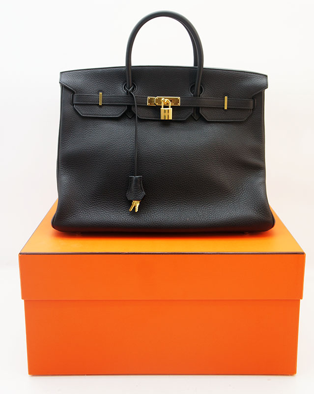 original hermes birkin bag 40 taurillon clemence tasche leder schwarz 89 noir ebay. Black Bedroom Furniture Sets. Home Design Ideas