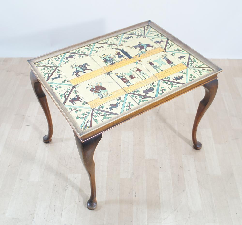 Chippendale Tisch 20er 30er jahre chippendale tisch mit fliesen beistelltisch kacheln tile ebay