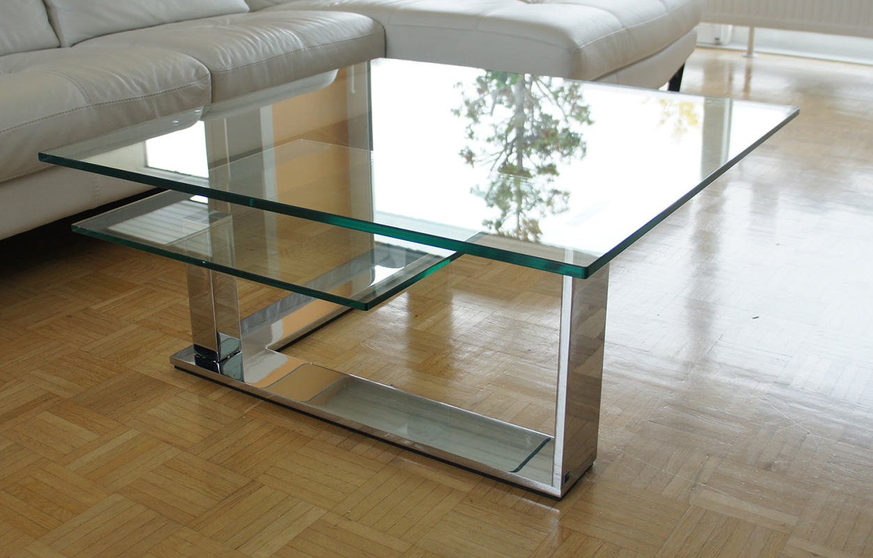 tisch couchtisch glastisch mit schwenkplatte klarglas