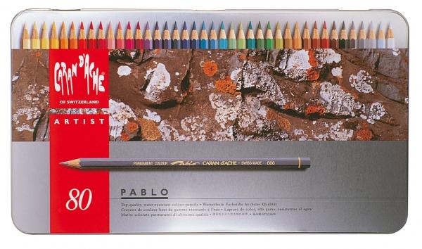 Caran-d-039-Ache-Pablo-wasserfeste-Farbstifte-Buntstifte-Stifte-in-Metallbox