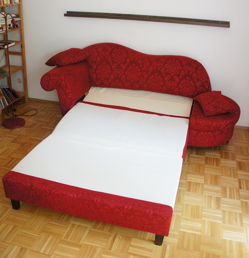 Recamiere mit schlaffunktion  Recamiere mit Schlaffunktion Schlafsofa Sofa Gästebett rot RS ...
