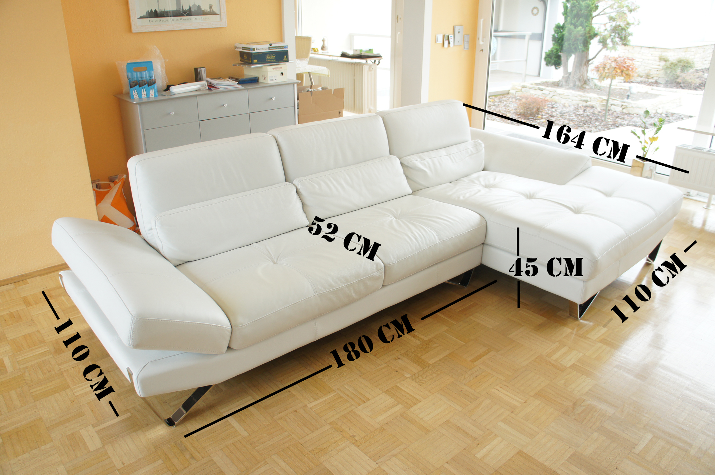 leder couch couchgarnitur sofa evan wei verstellbar 1 jahr alt np 4250 euro ebay. Black Bedroom Furniture Sets. Home Design Ideas