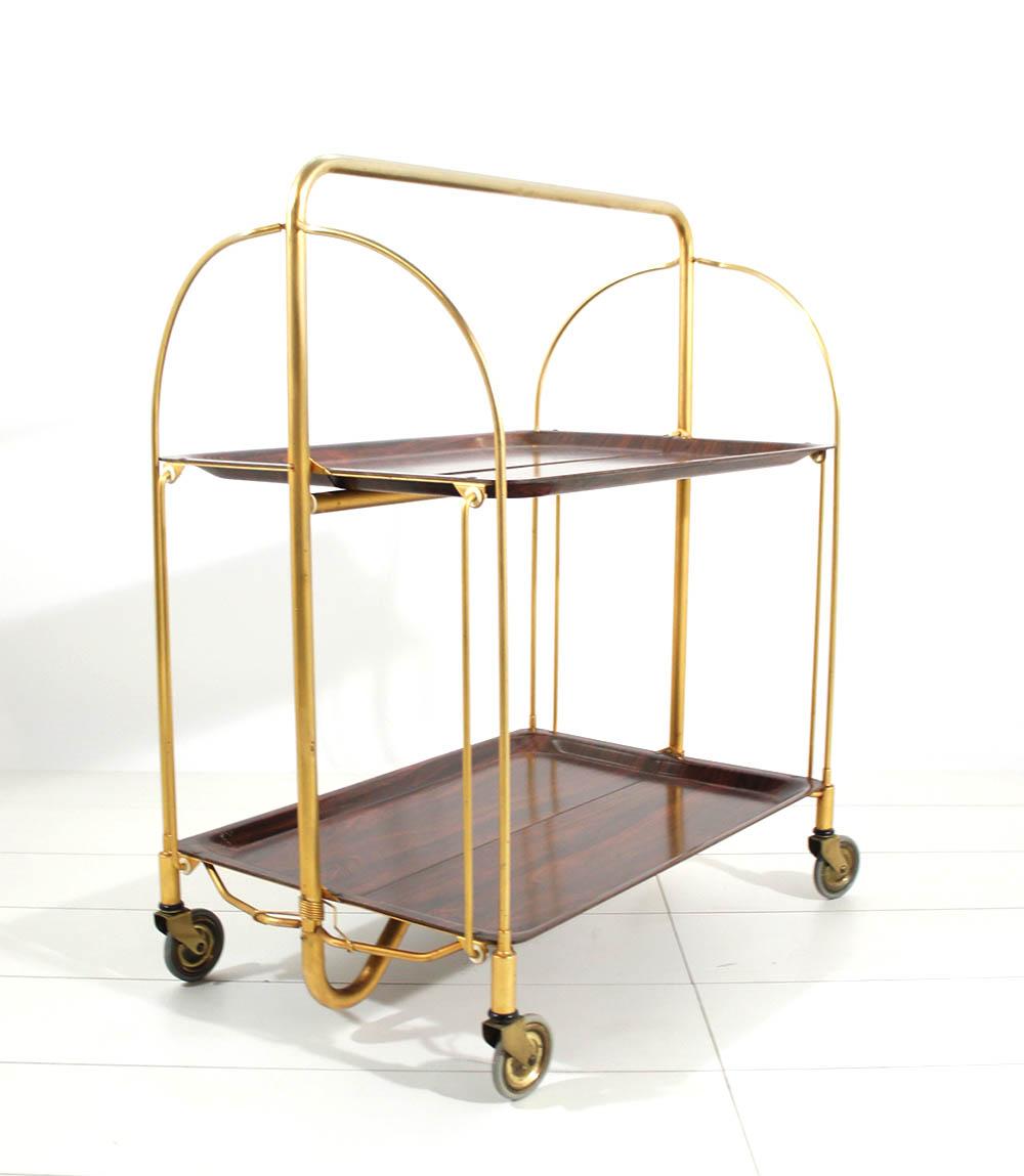 70er servierwagen teewagen barwagen rollwagen gerlinol dinett gold teak optik ebay. Black Bedroom Furniture Sets. Home Design Ideas