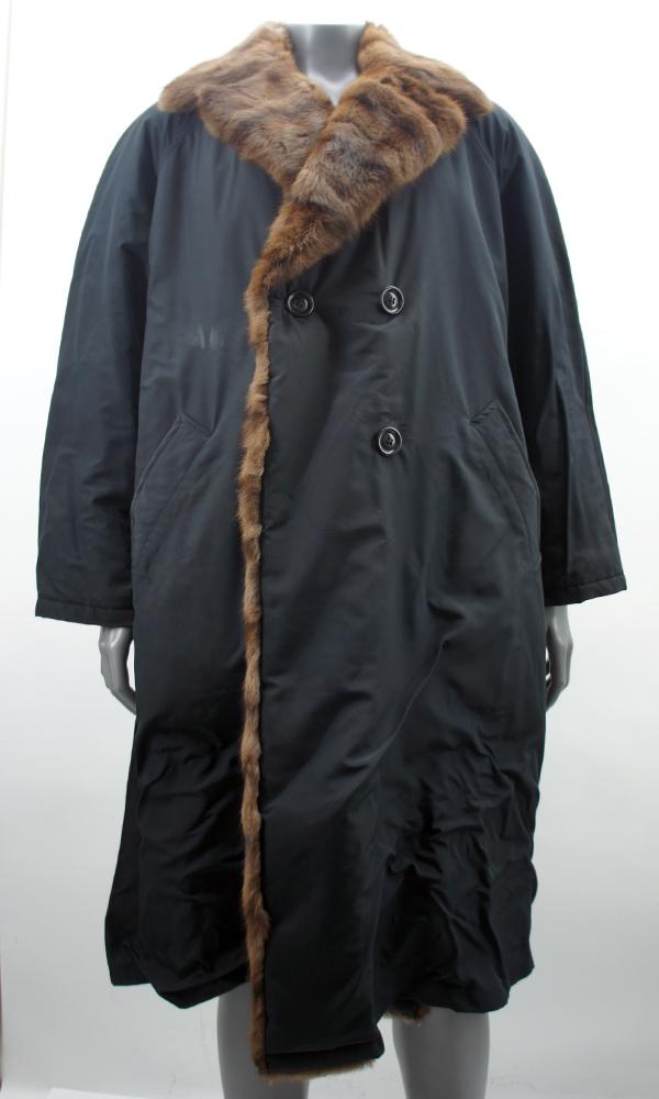 enrico mandelli damen jacke mantel mit pelz schwarz ebay. Black Bedroom Furniture Sets. Home Design Ideas