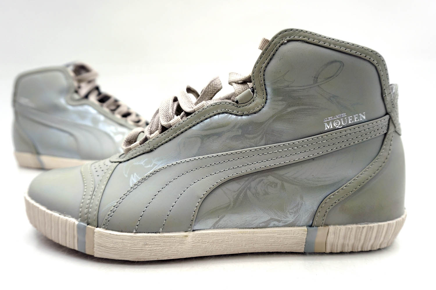 puma alexander mcqueen sneaker schuhe amq radiography old white silver gr 43 neu ebay. Black Bedroom Furniture Sets. Home Design Ideas