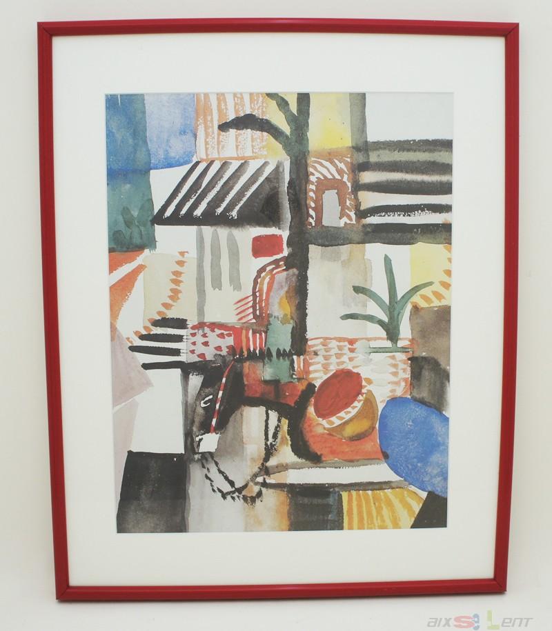 4 bilder kunstdrucke drucke von august macke tunesien in sch nen roten rahmen ebay. Black Bedroom Furniture Sets. Home Design Ideas