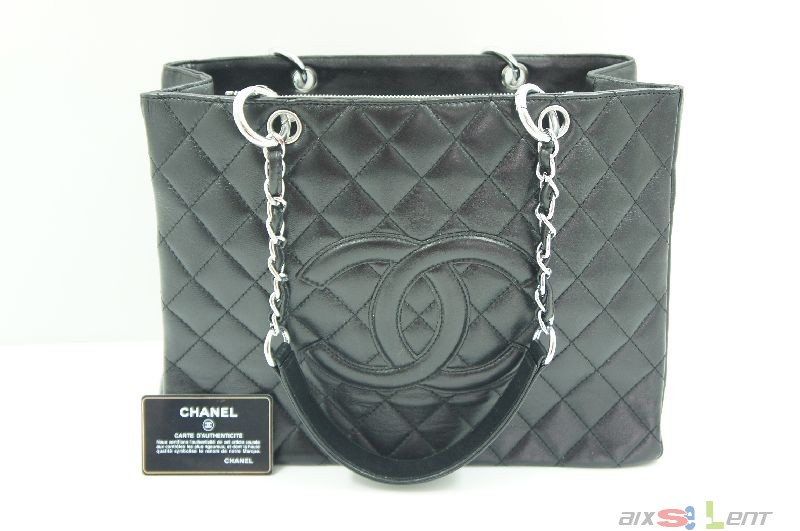 chanel shopper damen handtasche leder schwarz tasche. Black Bedroom Furniture Sets. Home Design Ideas