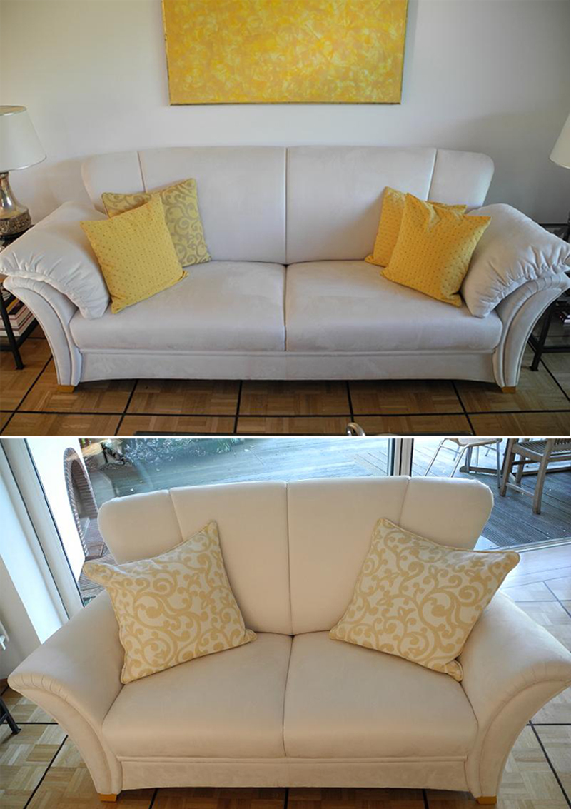 couchgarnitur sofa frommholz verona 2 5 2 sitzer alcantara wei 1 jahr alt ebay. Black Bedroom Furniture Sets. Home Design Ideas