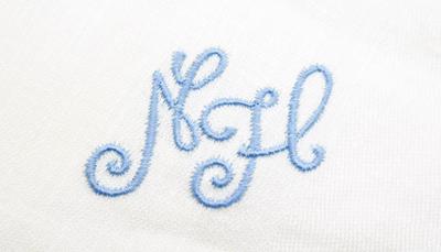 servietten 4 stk monogramm nh wei mit blauem hohlsaumrand ebay. Black Bedroom Furniture Sets. Home Design Ideas