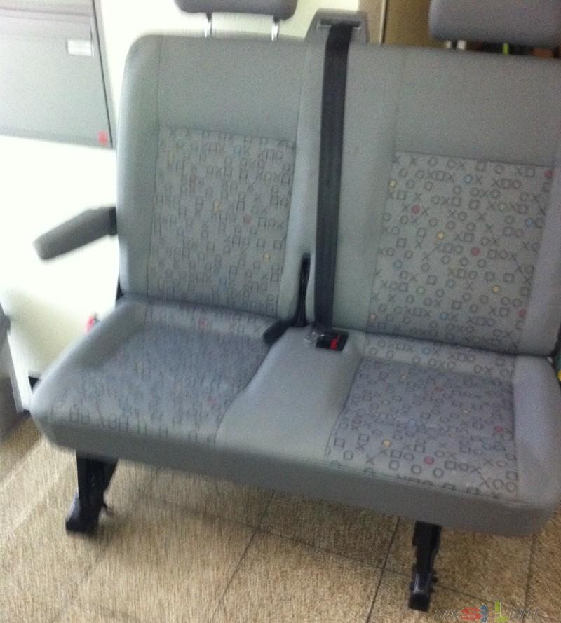 2er sitzbank t5 vw mit muster grau armlehne ebay. Black Bedroom Furniture Sets. Home Design Ideas