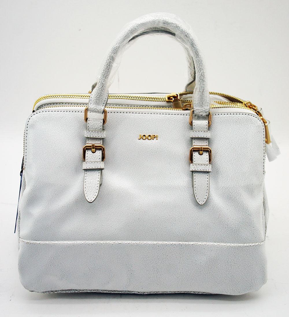 JOOP ! Handtasche Weiß Modell Naja Crack Offwhite Retro Look Crackle Leder .