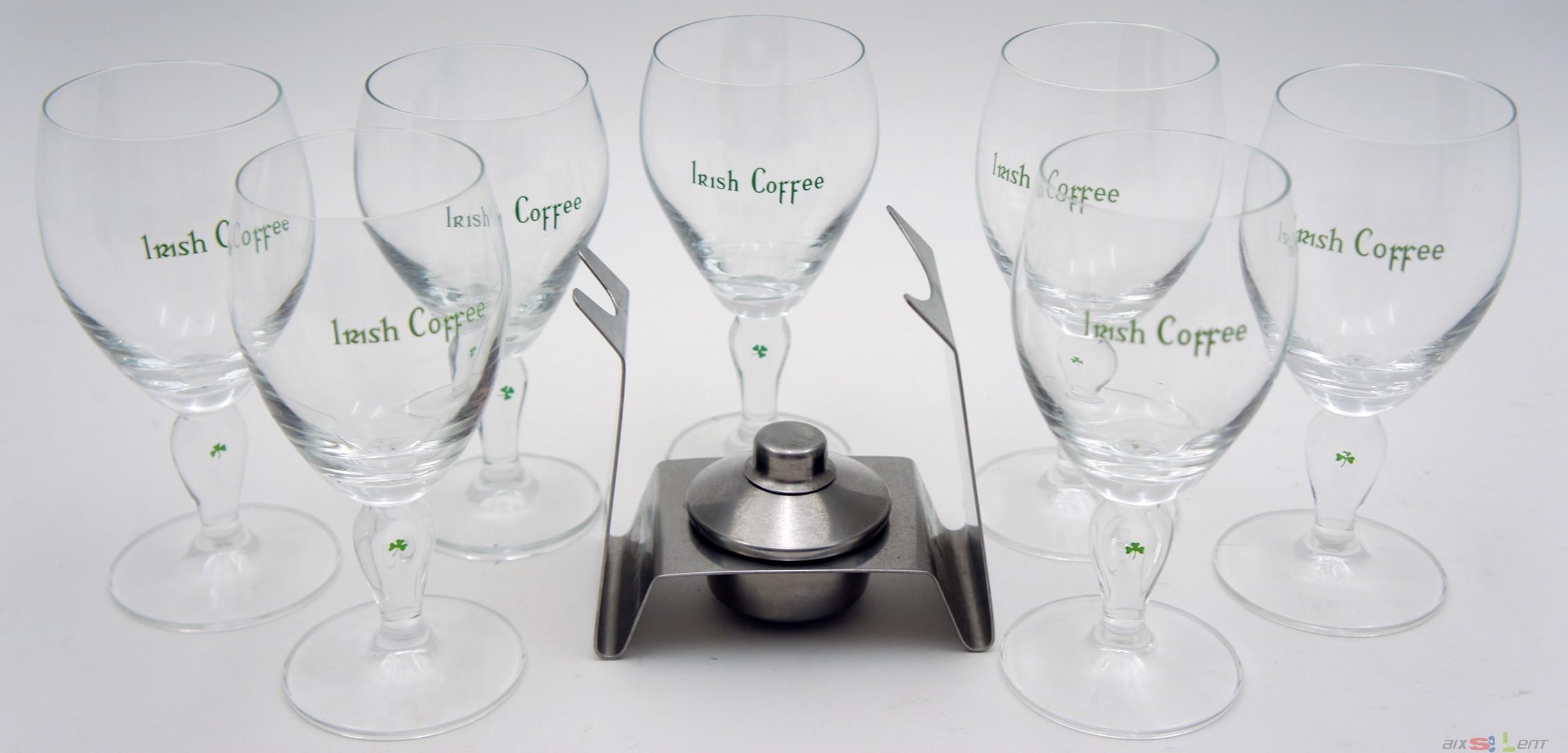 irish coffee set mit brenner von spring und 7 gl ser mit kleeblatt top ebay. Black Bedroom Furniture Sets. Home Design Ideas