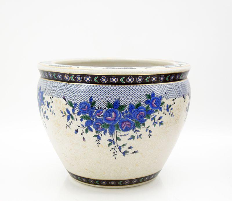 keramik vase bertopf blumentopf asiatisch koi karpfen 31. Black Bedroom Furniture Sets. Home Design Ideas