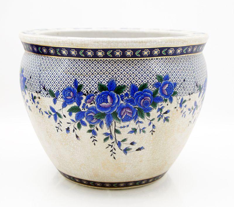 Keramik vase bertopf blumentopf asiatisch koi karpfen 31 for Blumentopf keramik