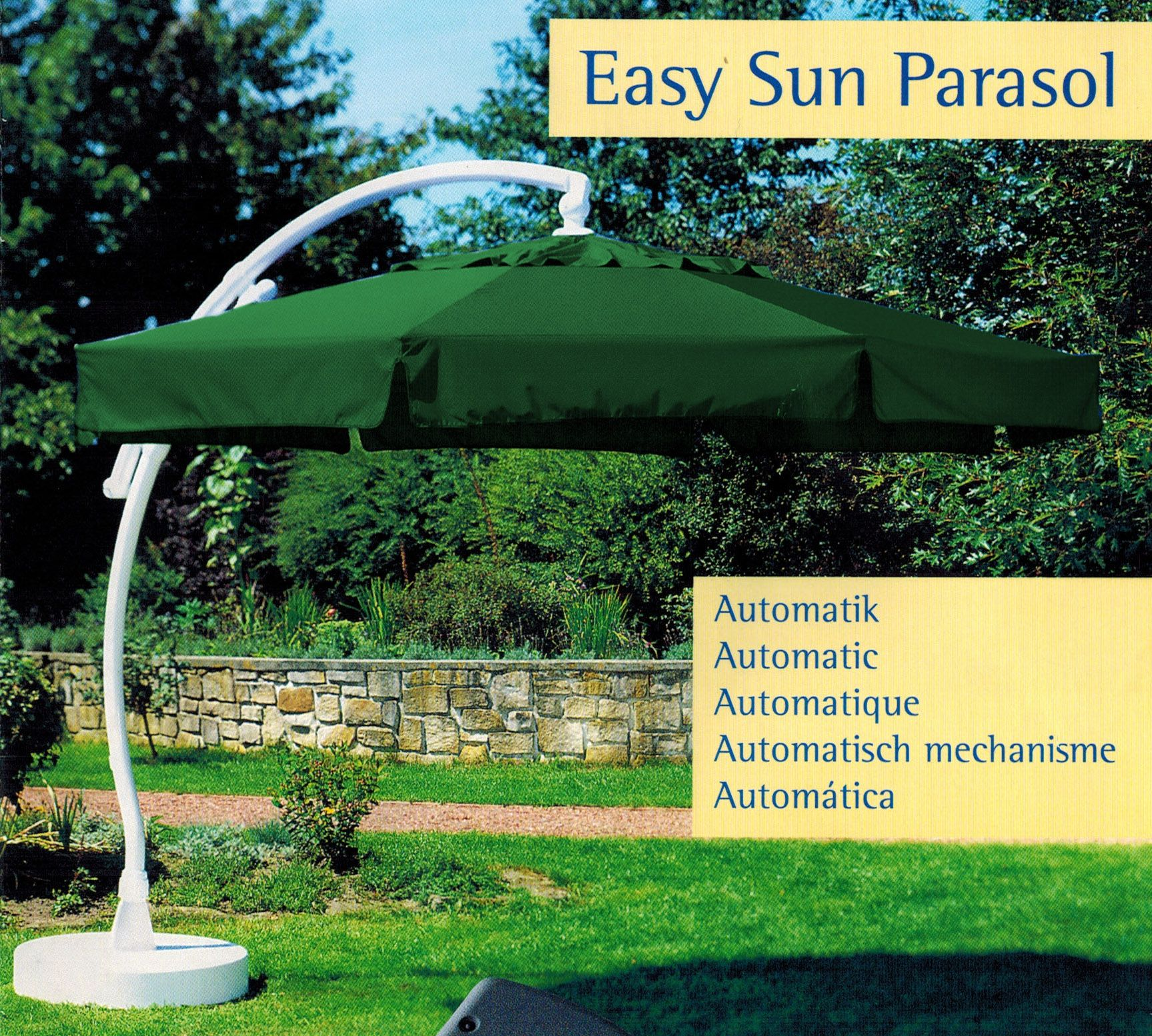 sun garden easy sun parasol ampelschirm 350 8 sonnenschirm automatik gr n blau ebay. Black Bedroom Furniture Sets. Home Design Ideas